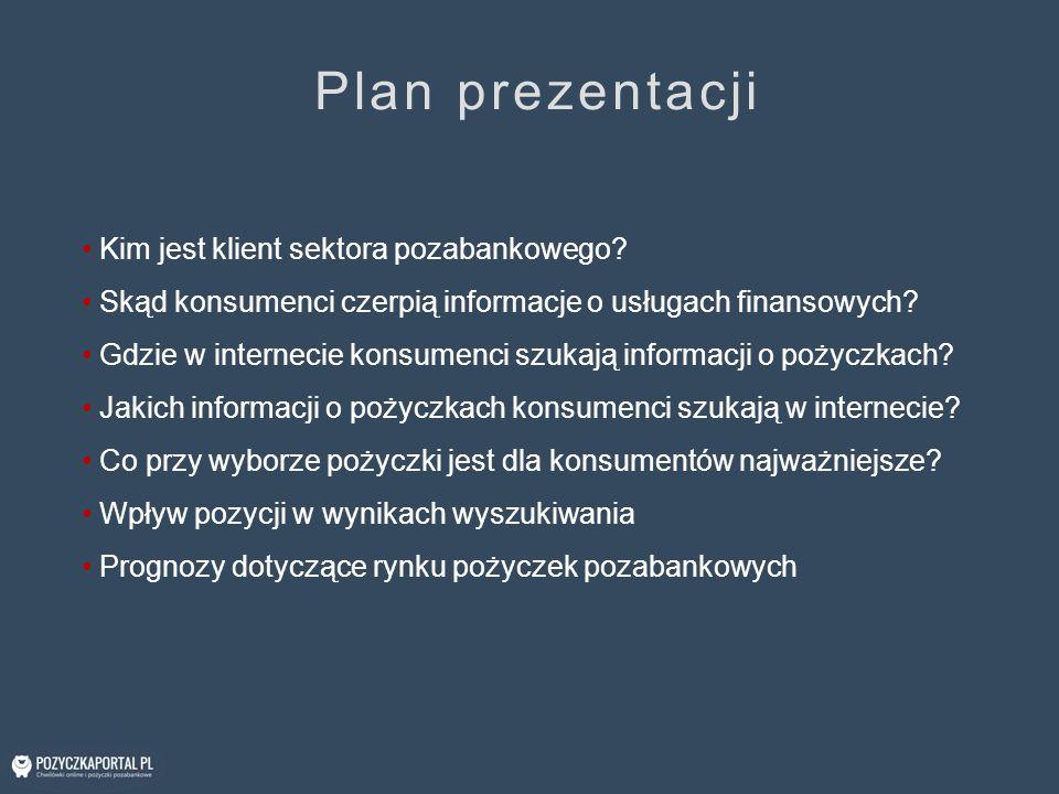 Plan prezentacji Kim jest klient sektora pozabankowego? Skąd konsumenci czerpią informacje o usługach finansowych? Gdzie w internecie konsumenci szuka
