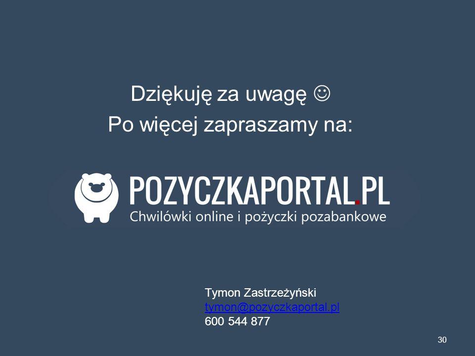 Dziękuję za uwagę Po więcej zapraszamy na: 30 Tymon Zastrzeżyński tymon@pozyczkaportal.pl 600 544 877
