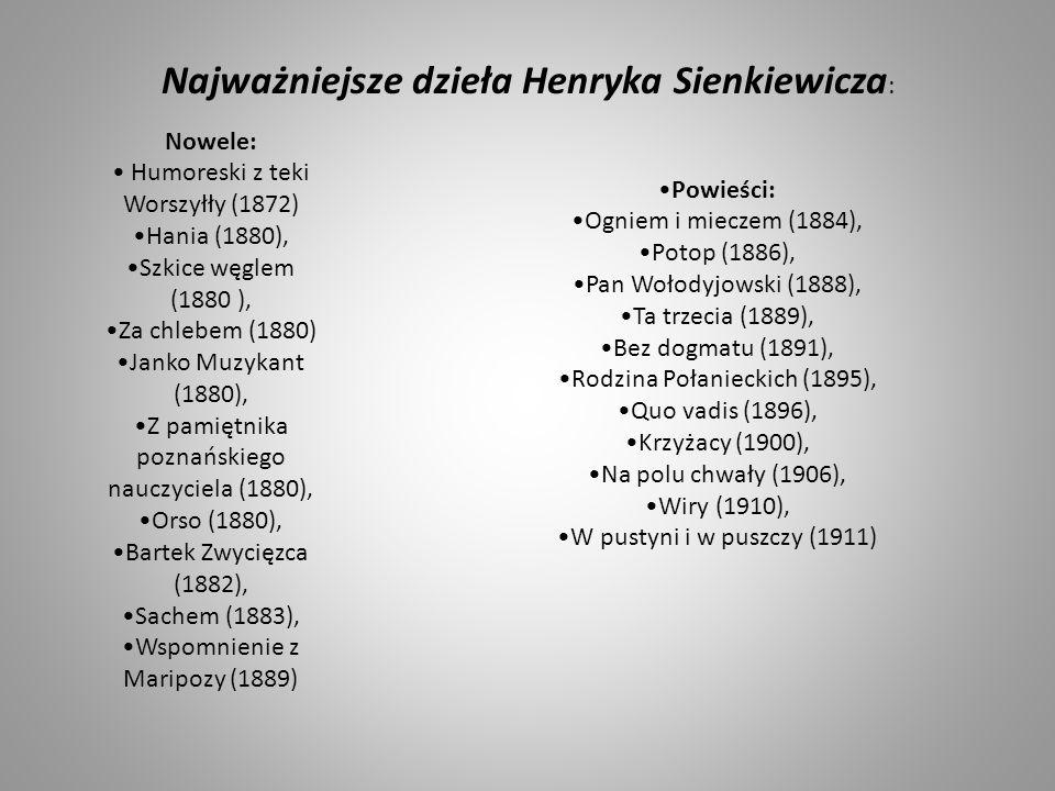 Nowele: Humoreski z teki Worszyłły (1872) Hania (1880), Szkice węglem (1880 ), Za chlebem (1880) Janko Muzykant (1880), Z pamiętnika poznańskiego nauc