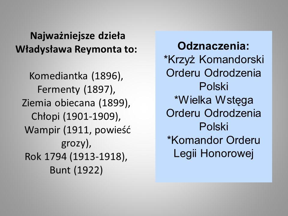 Najważniejsze dzieła Władysława Reymonta to: Komediantka (1896), Fermenty (1897), Ziemia obiecana (1899), Chłopi (1901-1909), Wampir (1911, powieść gr