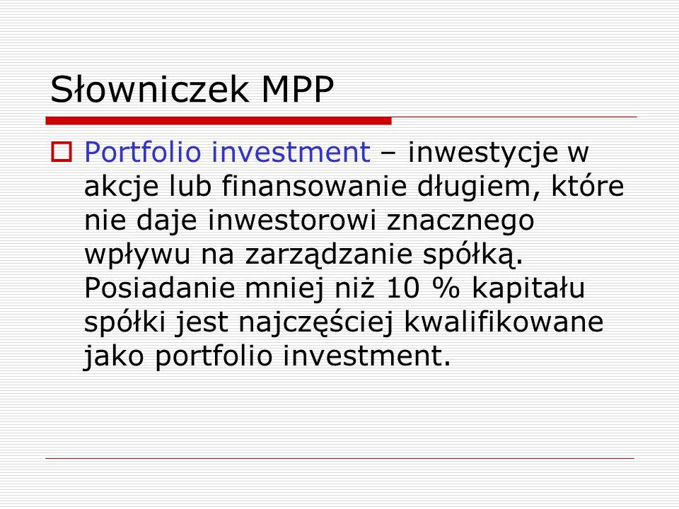 Słowniczek MPP  Portfolio investment – inwestycje w akcje lub finansowanie długiem, które nie daje inwestorowi znacznego wpływu na zarządzanie spółką