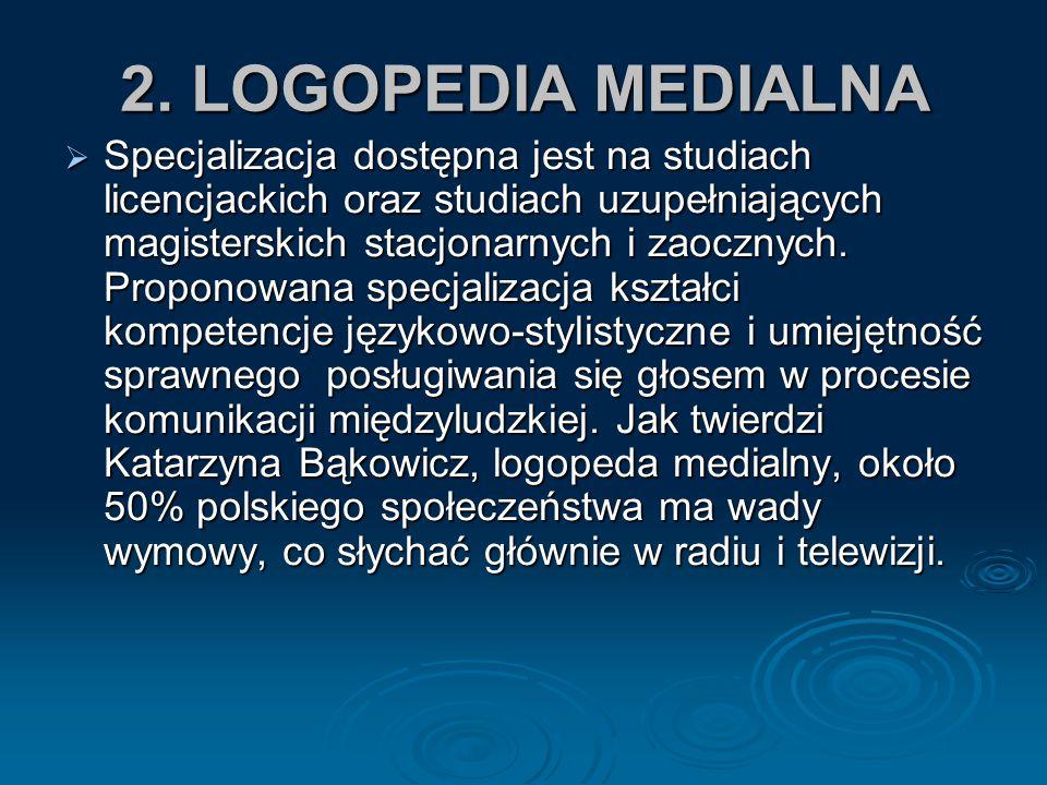 2. LOGOPEDIA MEDIALNA SSSSpecjalizacja dostępna jest na studiach licencjackich oraz studiach uzupełniających magisterskich stacjonarnych i zaoczny