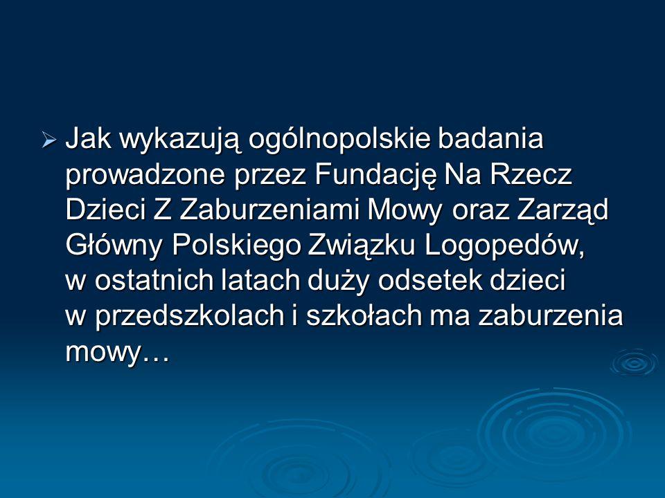 JJJJak wykazują ogólnopolskie badania prowadzone przez Fundację Na Rzecz Dzieci Z Zaburzeniami Mowy oraz Zarząd Główny Polskiego Związku Logopedów, w ostatnich latach duży odsetek dzieci w przedszkolach i szkołach ma zaburzenia mowy…