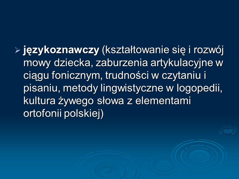  językoznawczy (kształtowanie się i rozwój mowy dziecka, zaburzenia artykulacyjne w ciągu fonicznym, trudności w czytaniu i pisaniu, metody lingwistyczne w logopedii, kultura żywego słowa z elementami ortofonii polskiej)