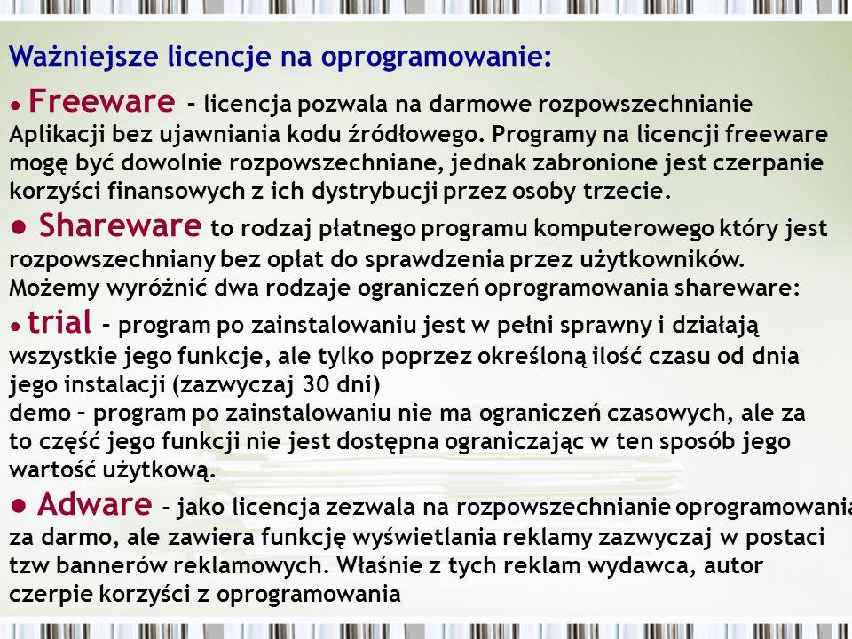 ● Postcardware (Cardware) – użytkownik aby mógł legalnie korzystać z programu musi wysłać autorowi kartkę pocztową, najczęściej z opinią na temat aplikacji.