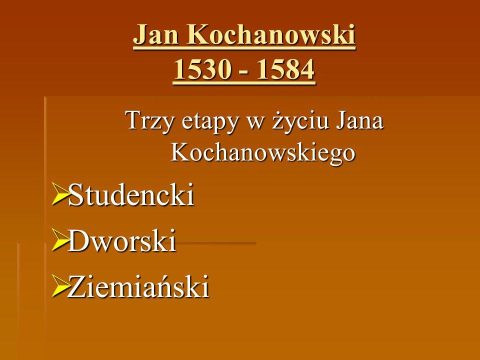 Jan Kochanowski 1530 - 1584 Etap studencki Dla średniozamożnego szlachcica z wielodzietnej rodziny droga do kariery wiodła przez naukę i dwory magnackie.