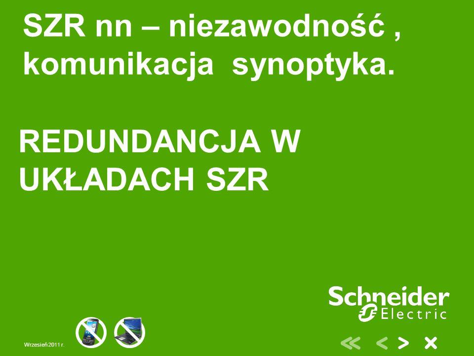 Wrzesień 2011 r. SZR nn – niezawodność, komunikacja synoptyka. REDUNDANCJA W UKŁADACH SZR