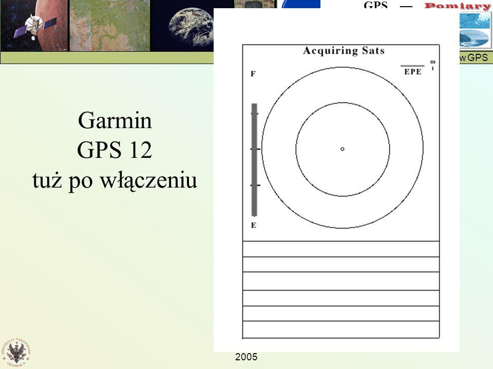 Protokół pomiarów GPS GPS — 2005 Garmin GPS 12 tuż po włączeniu