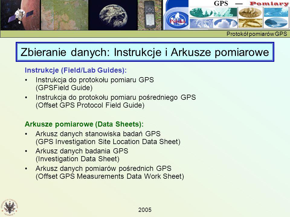 Protokół pomiarów GPS GPS — 2005 Zbieranie danych: Instrukcje i Arkusze pomiarowe Instrukcje (Field/Lab Guides): Instrukcja do protokołu pomiaru GPS (GPSField Guide) Instrukcja do protokołu pomiaru pośredniego GPS (Offset GPS Protocol Field Guide) Arkusze pomiarowe (Data Sheets): Arkusz danych stanowiska badań GPS (GPS Investigation Site Location Data Sheet) Arkusz danych badania GPS (Investigation Data Sheet) Arkusz danych pomiarów pośrednich GPS (Offset GPS Measurements Data Work Sheet)