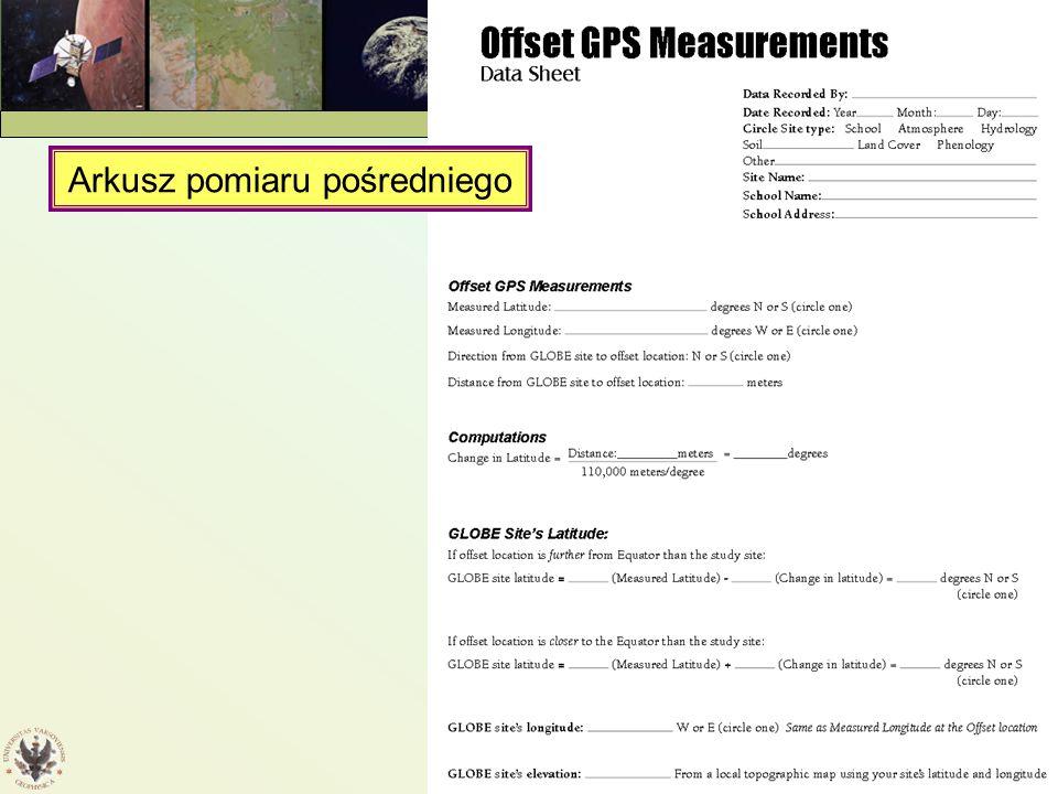 Protokół pomiarów GPS GPS — 2005 Arkusz pomiaru pośredniego