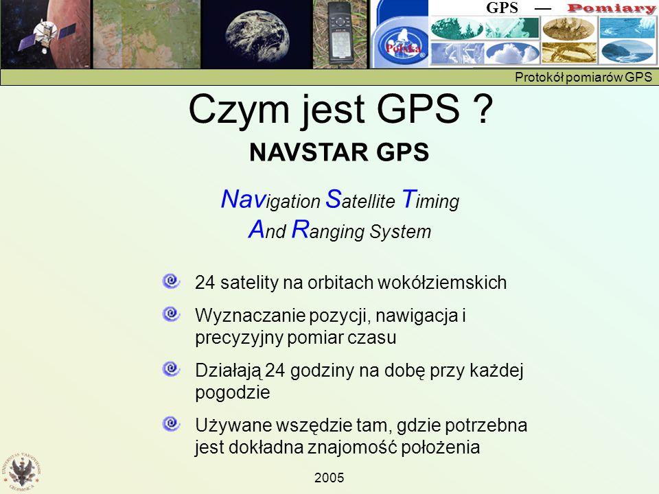 Protokół pomiarów GPS GPS — 2005 Na ekranie (stronie) Position Page ważne są Kurs (bearing) Wysokość Szerokość i długość geograficzna Czas (UT)