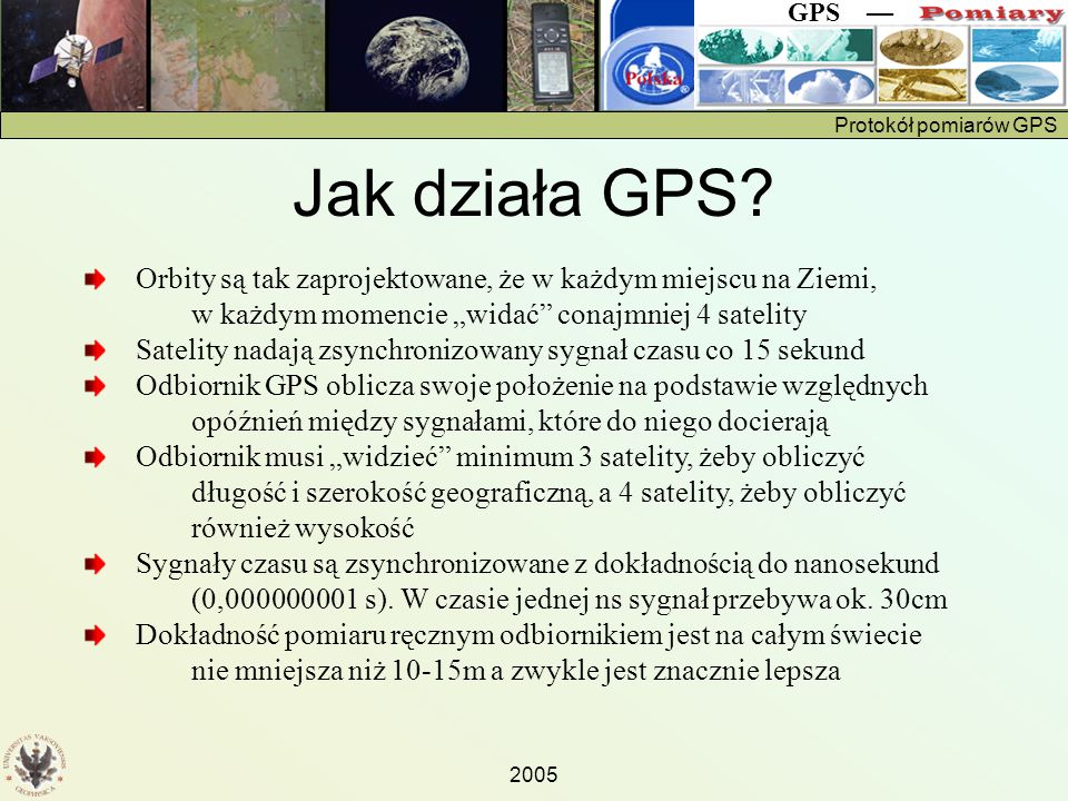 Protokół pomiarów GPS GPS — 2005 Arkusz pomiarowy GPS Należy wykonać pięć pomiarów w odstępach ok.