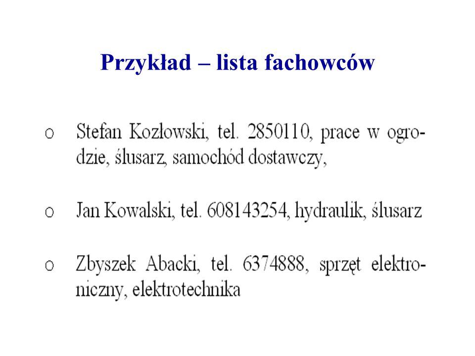 Przykład – lista fachowców