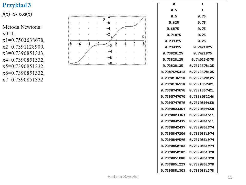 Barbara Szyszka Przykład 3 11 f(x)=x- cos(x) Metoda Newtona: x0=1, x1=0.7503638678, x2=0.7391128909, x3=0.7390851333, x4=0.7390851332, x5=0.7390851332