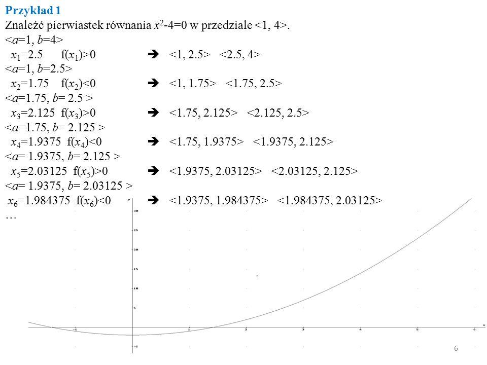 Barbara Szyszka Przykład 1 Znaleźć pierwiastek równania x 2 -4=0 w przedziale. x 1 =2.5 f(x 1 )>0  x 2 =1.75 f(x 2 ) x 3 =2.125 f(x 3 )>0  x 4 =1.93