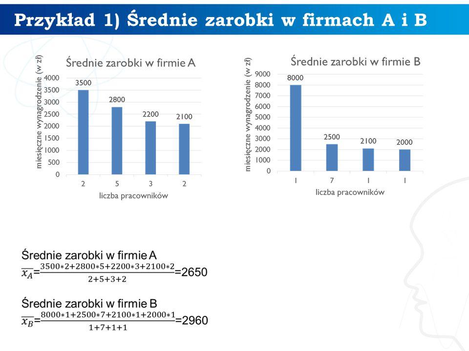 Przykład 1) Średnie zarobki w firmach A i B 4