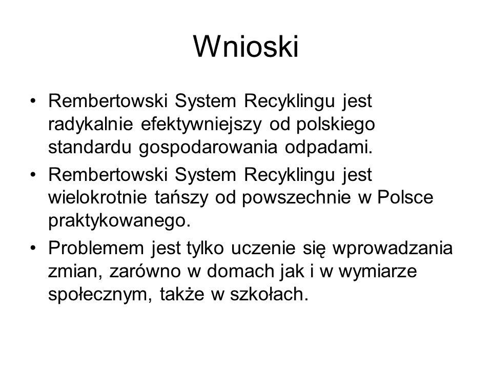 Wnioski Rembertowski System Recyklingu jest radykalnie efektywniejszy od polskiego standardu gospodarowania odpadami. Rembertowski System Recyklingu j