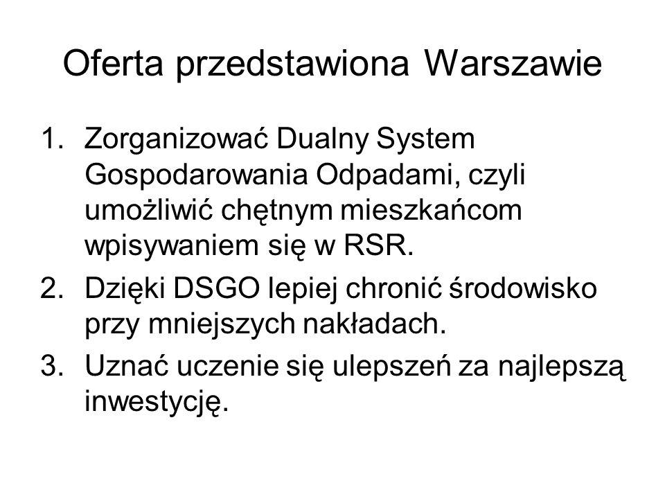 Oferta przedstawiona Warszawie 1.Zorganizować Dualny System Gospodarowania Odpadami, czyli umożliwić chętnym mieszkańcom wpisywaniem się w RSR. 2.Dzię