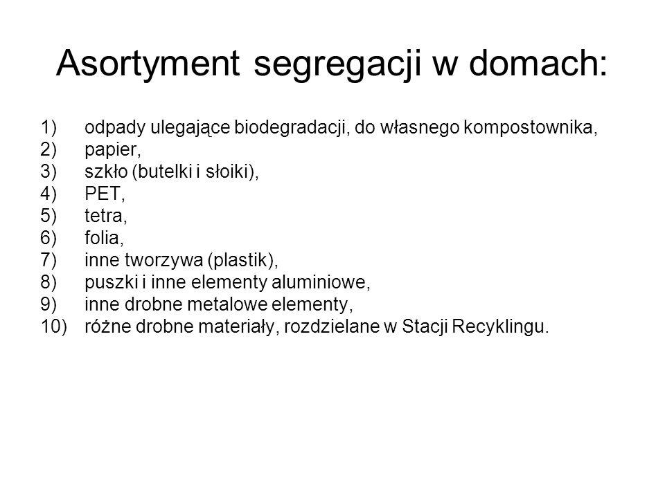 Asortyment segregacji w domach: 1)odpady ulegające biodegradacji, do własnego kompostownika, 2)papier, 3)szkło (butelki i słoiki), 4)PET, 5)tetra, 6)f
