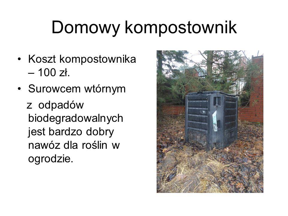 Domowy kompostownik Koszt kompostownika – 100 zł. Surowcem wtórnym z odpadów biodegradowalnych jest bardzo dobry nawóz dla roślin w ogrodzie.