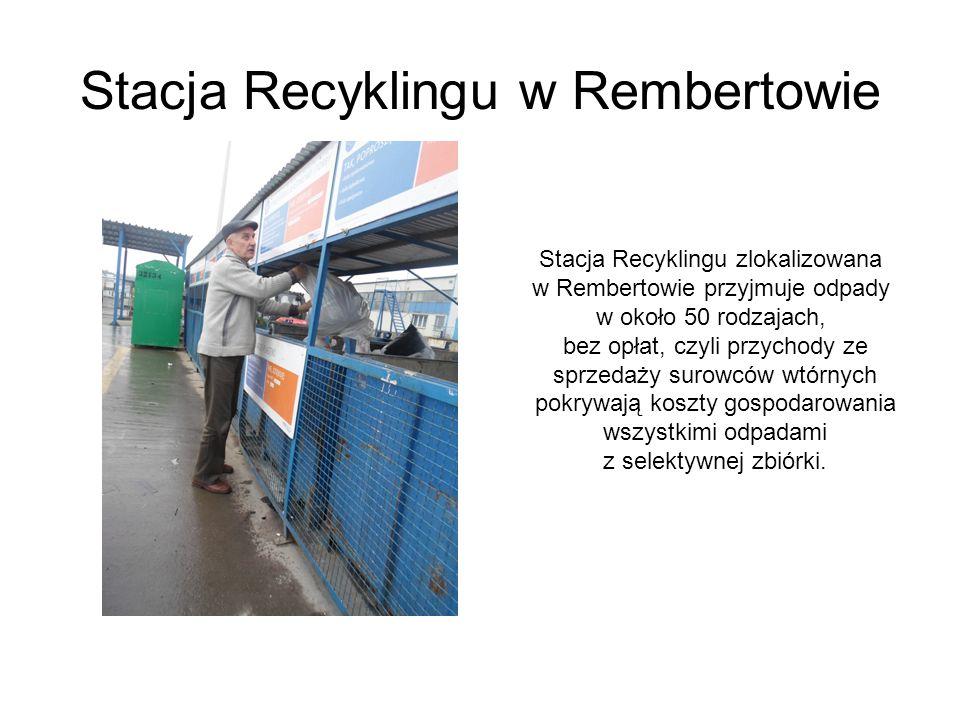 Stacja Recyklingu w Rembertowie Stacja Recyklingu zlokalizowana w Rembertowie przyjmuje odpady w około 50 rodzajach, bez opłat, czyli przychody ze spr