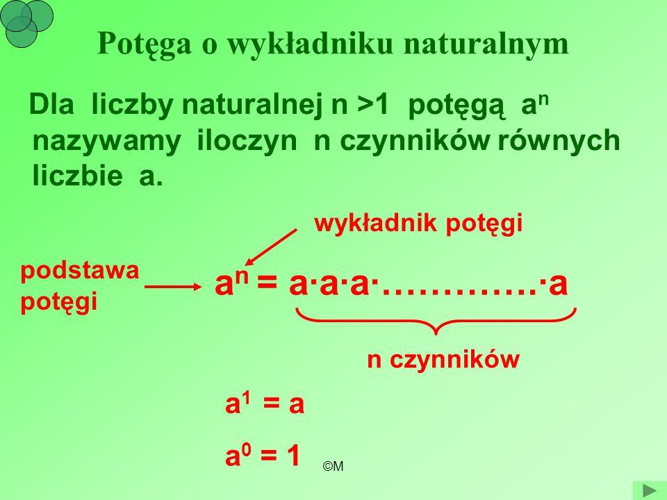 ©M Potęga o wykładniku naturalnym Dla liczby naturalnej n >1 potęgą a n nazywamy iloczyn n czynników równych liczbie a. a n = a·a·a·………….·a wykładnik