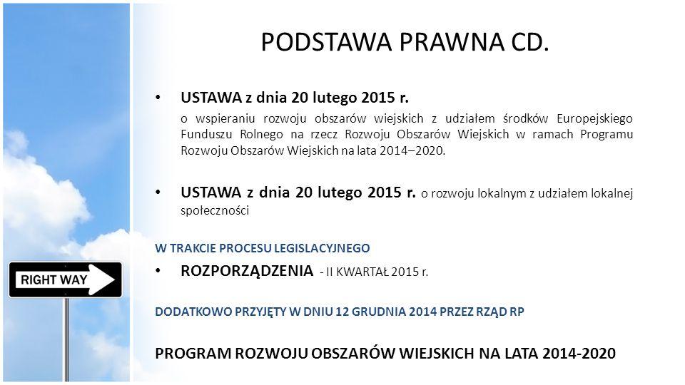 PODSTAWA PRAWNA CD. USTAWA z dnia 20 lutego 2015 r. o wspieraniu rozwoju obszarów wiejskich z udziałem środków Europejskiego Funduszu Rolnego na rzecz