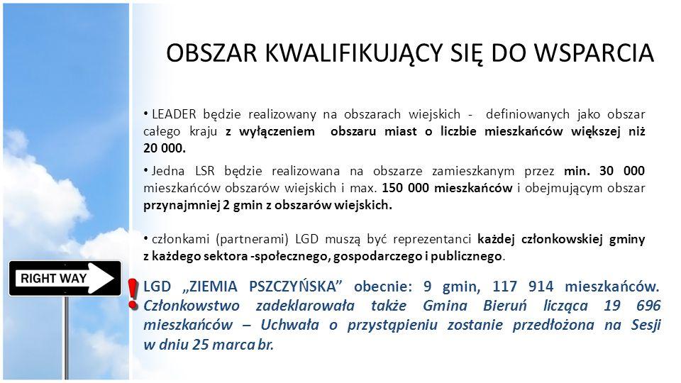 LEADER - WYSOKOŚĆ WSPARCIA Maksymalna kwota pomocy dla danego rodzaju operacji będzie ustalona przez LGD; 2 mln zł/beneficjenta – infrastruktura techniczna- w tym drogowa do 500 tyś.