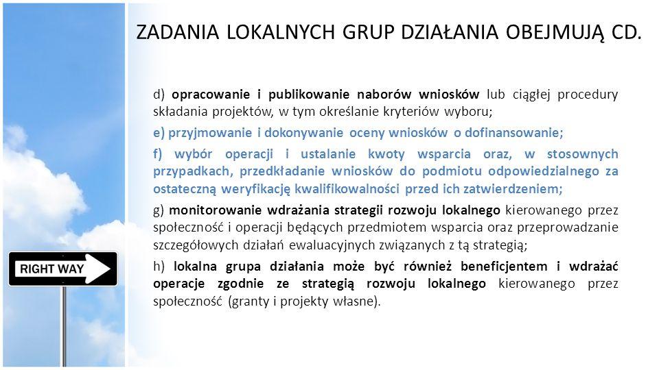 ZADANIA LOKALNYCH GRUP DZIAŁANIA OBEJMUJĄ CD. d) opracowanie i publikowanie naborów wniosków lub ciągłej procedury składania projektów, w tym określan