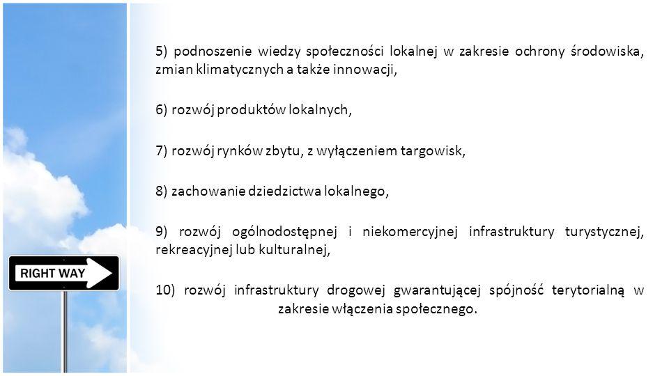5) podnoszenie wiedzy społeczności lokalnej w zakresie ochrony środowiska, zmian klimatycznych a także innowacji, 6) rozwój produktów lokalnych, 7) ro