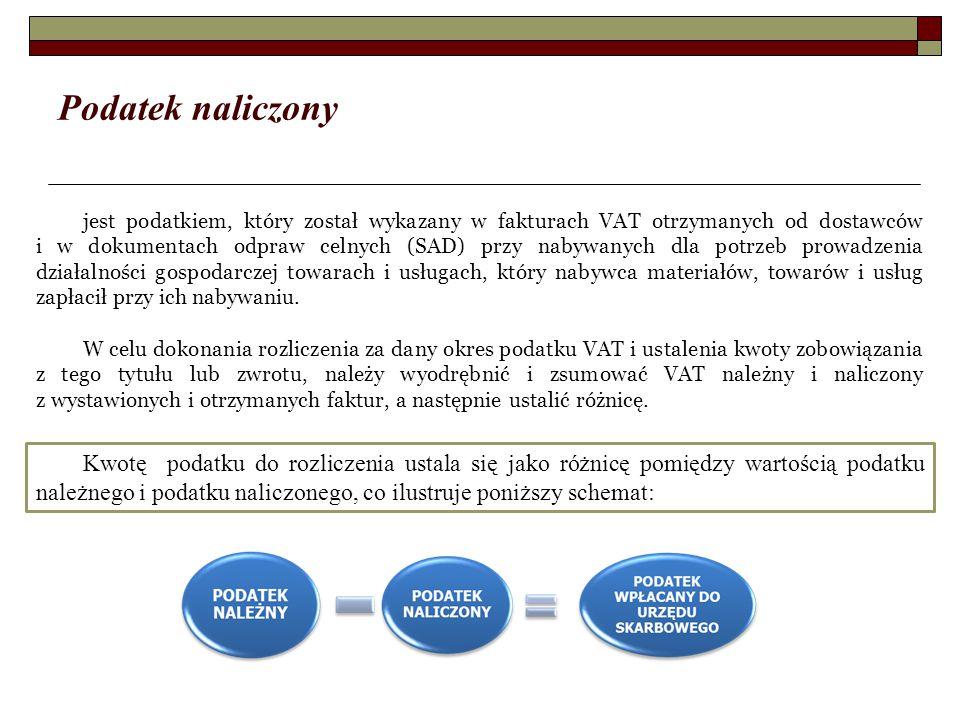 Podatek naliczony jest podatkiem, który został wykazany w fakturach VAT otrzymanych od dostawców i w dokumentach odpraw celnych (SAD) przy nabywanych dla potrzeb prowadzenia działalności gospodarczej towarach i usługach, który nabywca materiałów, towarów i usług zapłacił przy ich nabywaniu.