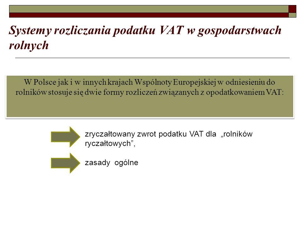 """Systemy rozliczania podatku VAT w gospodarstwach rolnych W Polsce jak i w innych krajach Wspólnoty Europejskiej w odniesieniu do rolników stosuje się dwie formy rozliczeń związanych z opodatkowaniem VAT: zryczałtowany zwrot podatku VAT dla """"rolników ryczałtowych , zasady ogólne"""