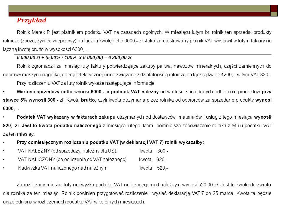Przykład Rolnik Marek P.jest płatnikiem podatku VAT na zasadach ogólnych.