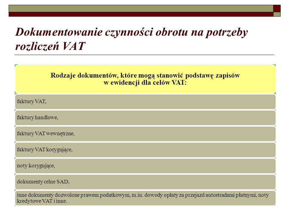 Dokumentowanie czynności obrotu na potrzeby rozliczeń VAT Rodzaje dokumentów, które mogą stanowić podstawę zapisów w ewidencji dla celów VAT: faktury