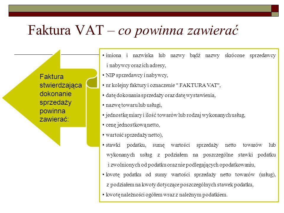 Faktura VAT – co powinna zawierać imiona i nazwiska lub nazwy bądź nazwy skrócone sprzedawcy i nabywcy oraz ich adresy, NIP sprzedawcy i nabywcy, nr k