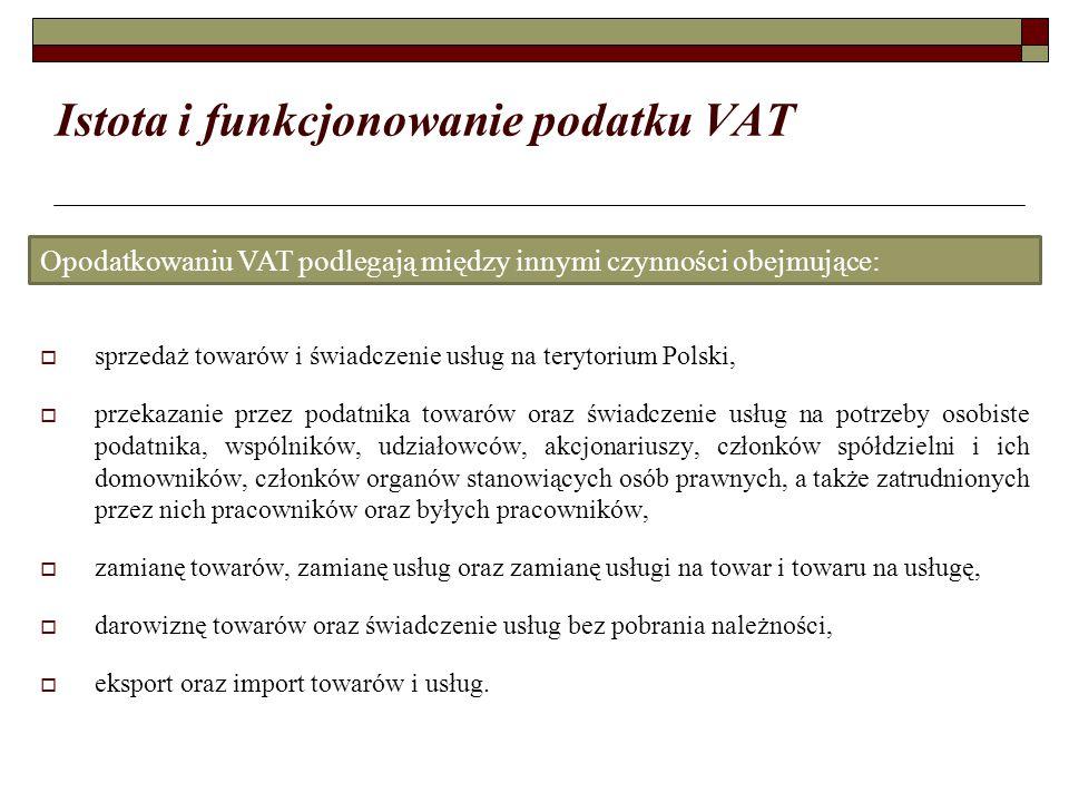 Istota i funkcjonowanie podatku VAT  sprzedaż towarów i świadczenie usług na terytorium Polski,  przekazanie przez podatnika towarów oraz świadczenie usług na potrzeby osobiste podatnika, wspólników, udziałowców, akcjonariuszy, członków spółdzielni i ich domowników, członków organów stanowiących osób prawnych, a także zatrudnionych przez nich pracowników oraz byłych pracowników,  zamianę towarów, zamianę usług oraz zamianę usługi na towar i towaru na usługę,  darowiznę towarów oraz świadczenie usług bez pobrania należności,  eksport oraz import towarów i usług.