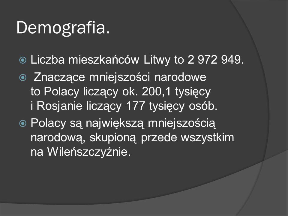 Demografia.  Liczba mieszkańców Litwy to 2 972 949.  Znaczące mniejszości narodowe to Polacy liczący ok. 200,1 tysięcy i Rosjanie liczący 177 tysięc