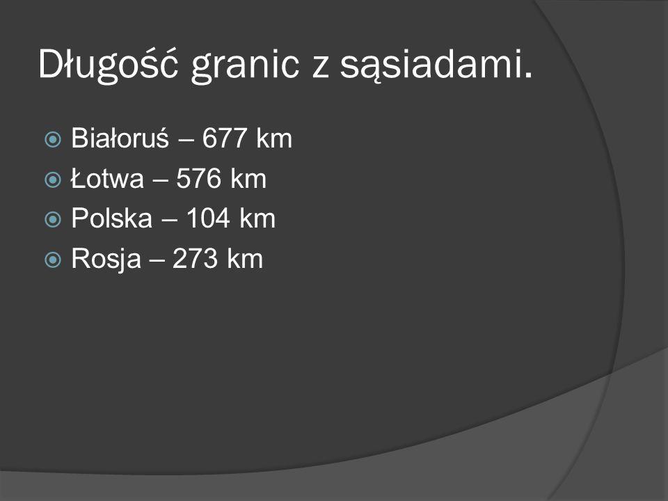Długość granic z sąsiadami.  Białoruś – 677 km  Łotwa – 576 km  Polska – 104 km  Rosja – 273 km