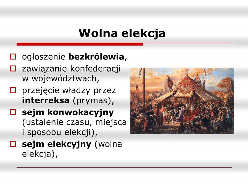 Wolna elekcja  ogłoszenie bezkrólewia,  zawiązanie konfederacji w województwach,  przejęcie władzy przez interreksa (prymas),  sejm konwokacyjny (