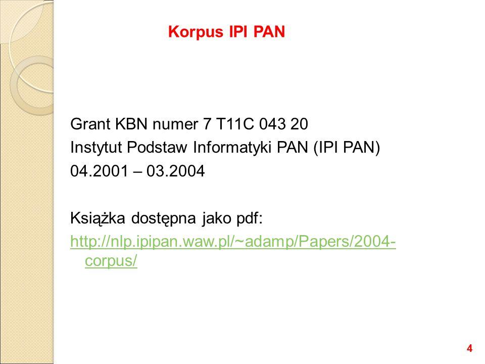 Grant KBN numer 7 T11C 043 20 Instytut Podstaw Informatyki PAN (IPI PAN) 04.2001 – 03.2004 Książka dostępna jako pdf: http://nlp.ipipan.waw.pl/~adamp/Papers/2004- corpus/ Korpus IPI PAN 4