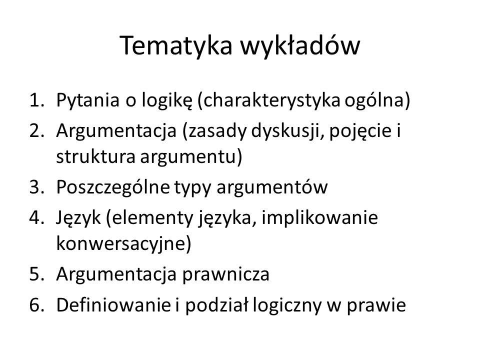 Tematyka wykładów 1.Pytania o logikę (charakterystyka ogólna) 2.Argumentacja (zasady dyskusji, pojęcie i struktura argumentu) 3.Poszczególne typy argu