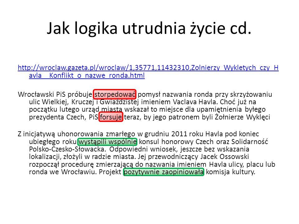 Jak logika utrudnia życie cd. http://wroclaw.gazeta.pl/wroclaw/1,35771,11432310,Zolnierzy_Wykletych_czy_H avla__Konflikt_o_nazwe_ronda.html Wrocławski