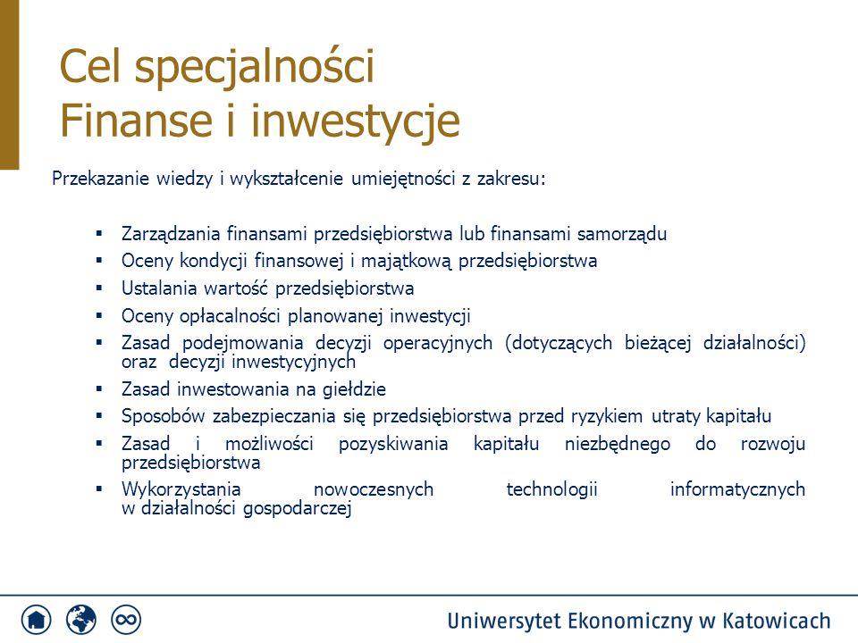 PrzedmiotSemestr Punkty ECTS Ilość godzin Ćwiczenia S/NWykład S/N Rachunek wyników4415/-15/15 Zarządzanie projektami5430/-30/21 Inwestycje sektora publicznego5415/-30/21 Strategie inwestowania5430/-30/21 Giełdy i transakcje giełdowe6430/-30/18 Fundusze inwestycyjne i emerytalne63-/-30/15 System podatkowy6430/-30/21 Przedmioty specjalnościowe