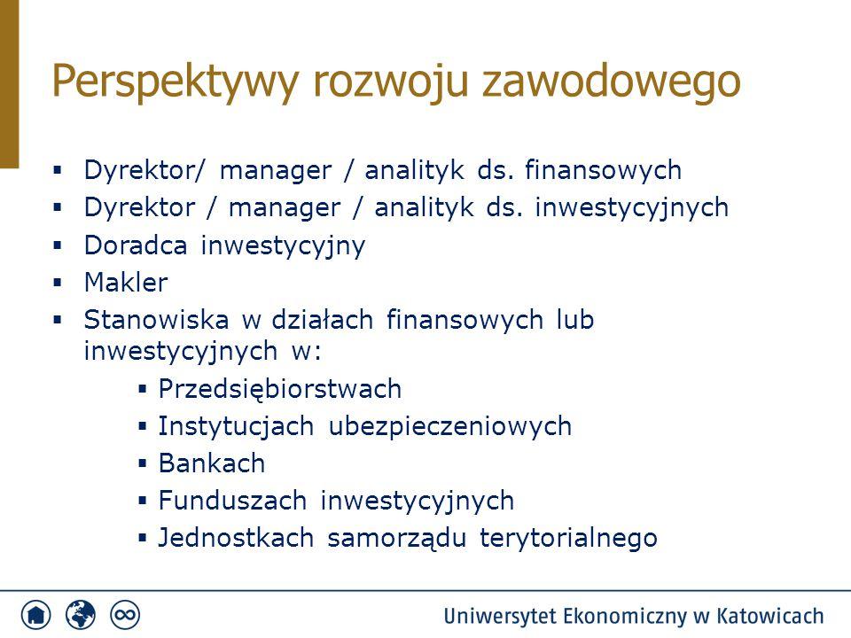 Przekazanie wiedzy i wykształcenie umiejętności z zakresu:  Zarządzania finansami przedsiębiorstwa lub finansami samorządu  Oceny kondycji finansowej i majątkową przedsiębiorstwa  Ustalania wartość przedsiębiorstwa  Oceny opłacalności planowanej inwestycji  Zasad podejmowania decyzji operacyjnych (dotyczących bieżącej działalności) oraz decyzji inwestycyjnych  Zasad inwestowania na giełdzie  Sposobów zabezpieczania się przedsiębiorstwa przed ryzykiem utraty kapitału  Zasad i możliwości pozyskiwania kapitału niezbędnego do rozwoju przedsiębiorstwa  Wykorzystania nowoczesnych technologii informatycznych w działalności gospodarczej Cel specjalności Finanse i inwestycje