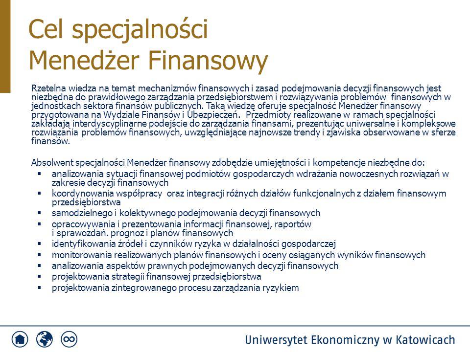 Przedmioty specjalnościowe PrzedmiotSemestr Punkty ECTS Ilość godzin Ćwiczenia S/NWykład S/N Podstawy decyzji menedżerskich4415/630/12 Decyzje finansowe w jednostkach sektora finansów publicznych5430/630/12 Decyzje finansowe w przedsiębiorstwie5430/930/12 Podstawy wyceny i zarządzania ryzykiem w finansach5415/930/12 Benchmarking w systemie informacji menedżerskiej6430/930/12 Podstawy prawne decyzji menedżerskich63-/-30/15 Zaawansowane wykorzystanie arkusza kalkulacyjnego w finansach6430/1815/-