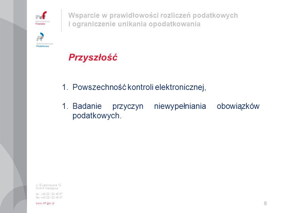 ul. Świętokrzyska 12 00-916 Warszawa tel.: +48 22 123 45 67 fax :+48 22 123 45 67 www.mf.gov.pl Przyszłość 8 Wsparcie w prawidłowości rozliczeń podatk