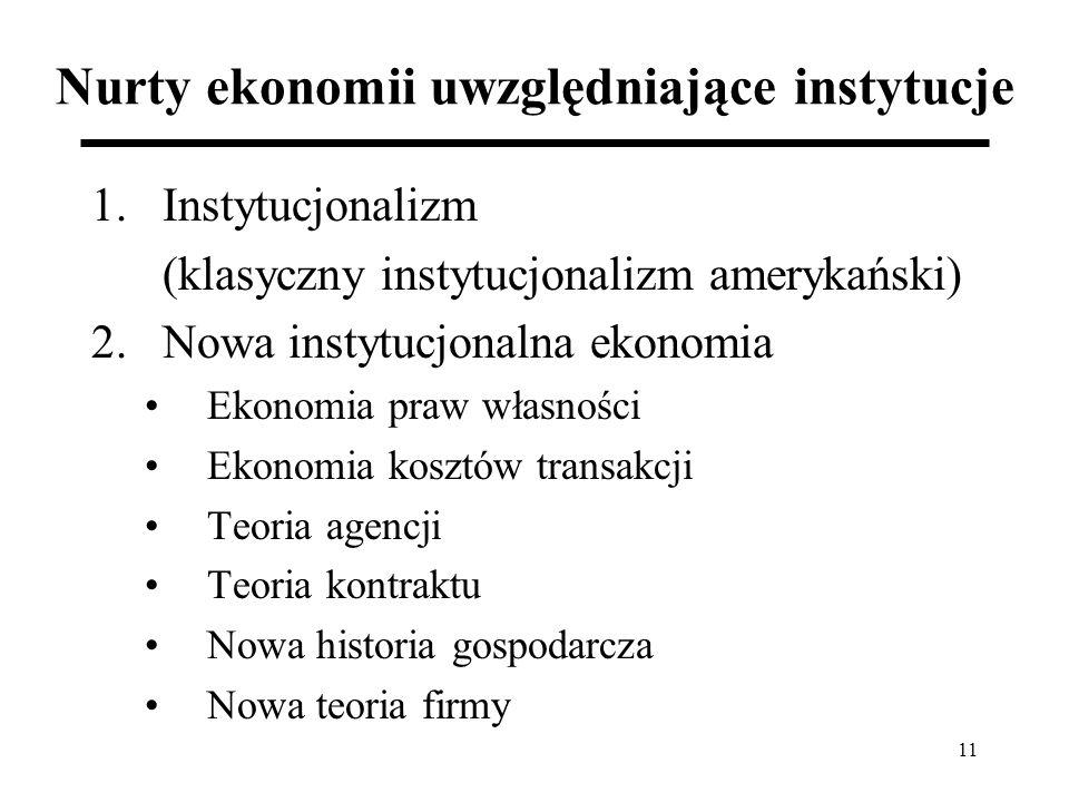 11 Nurty ekonomii uwzględniające instytucje 1.Instytucjonalizm (klasyczny instytucjonalizm amerykański) 2.Nowa instytucjonalna ekonomia Ekonomia praw własności Ekonomia kosztów transakcji Teoria agencji Teoria kontraktu Nowa historia gospodarcza Nowa teoria firmy