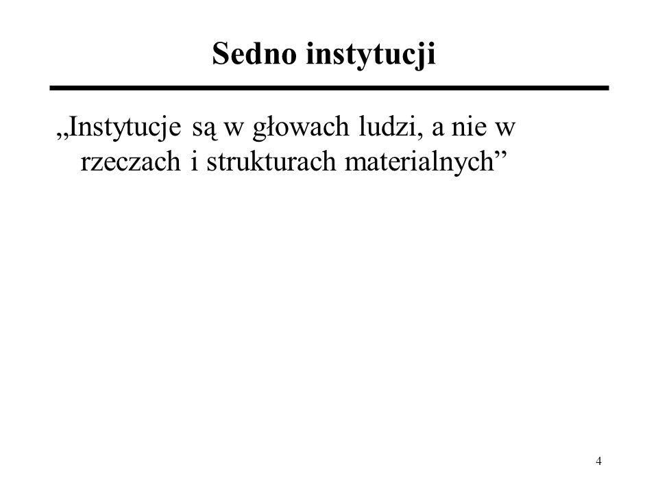 """4 Sedno instytucji """"Instytucje są w głowach ludzi, a nie w rzeczach i strukturach materialnych"""