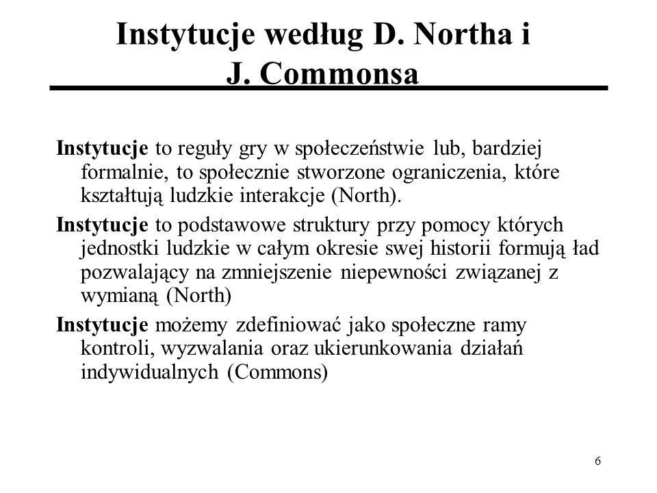 6 Instytucje według D. Northa i J.