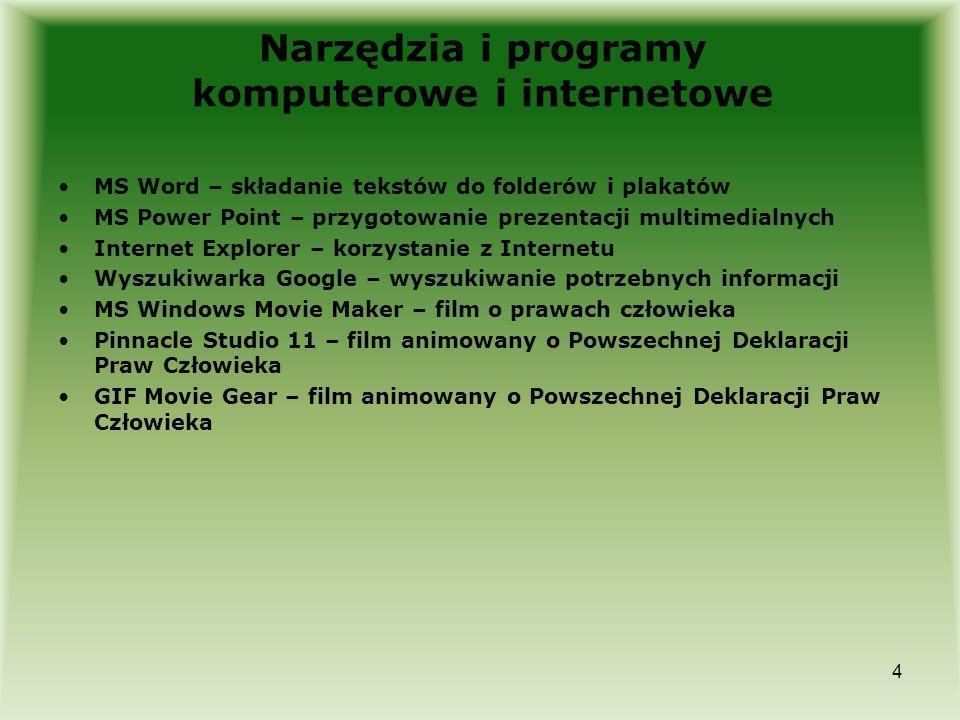 4 Narzędzia i programy komputerowe i internetowe MS Word – składanie tekstów do folderów i plakatów MS Power Point – przygotowanie prezentacji multime